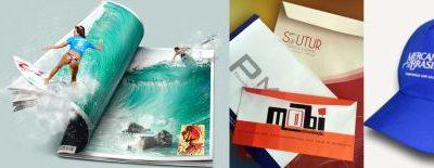 bonés, sacolas, revistas e envelopes