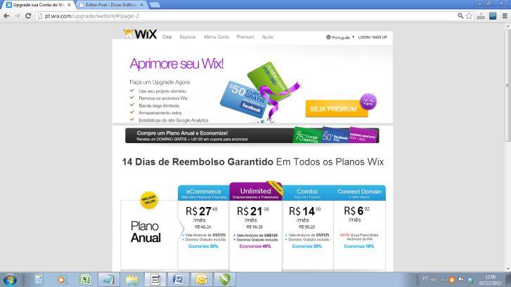 Construa sites de graça com wix